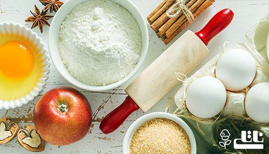 مواد لازم تهیه کیک سیب در خانه از نوع ساده