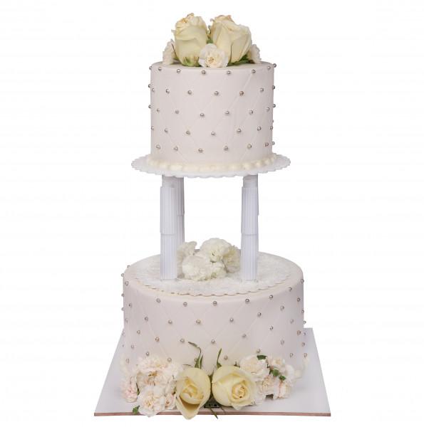 کیک عروسی رز سفید 2