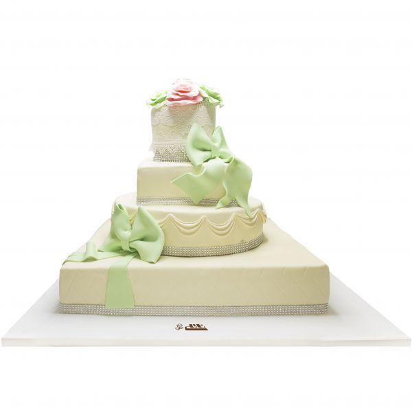 کیک عروسی عشق سبز