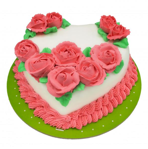 کیک قلب و رز