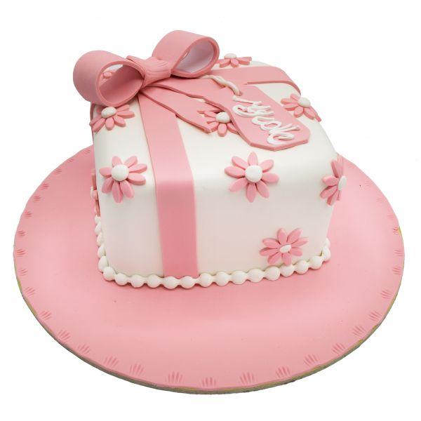 کیک هدیه پاپیون صورتی
