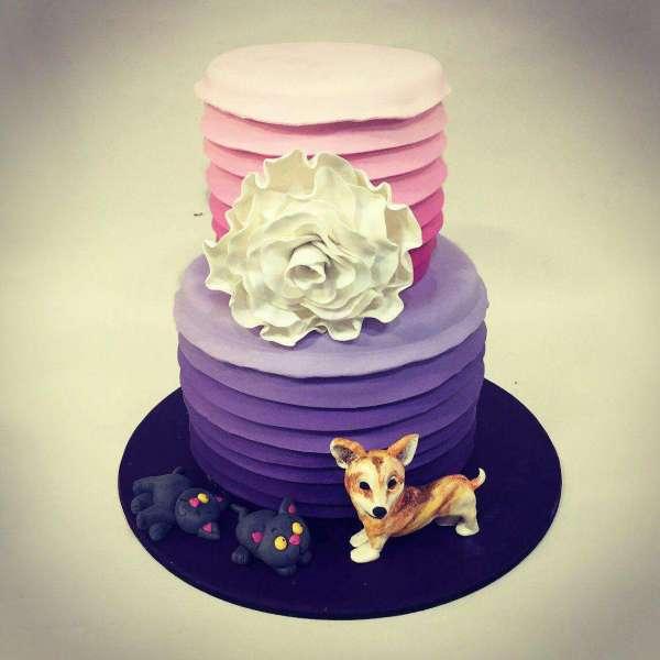 کیک تولد دخترانه دراپه کاملیا