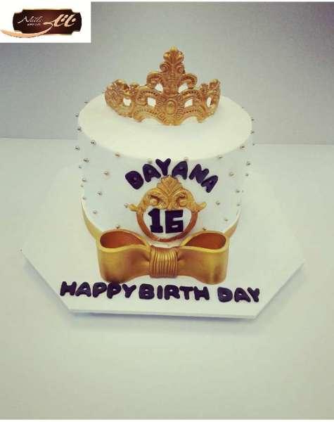 کیک تولد تاج طلایی 4