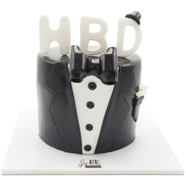 کیک تولد کت مشکی با پاپیون