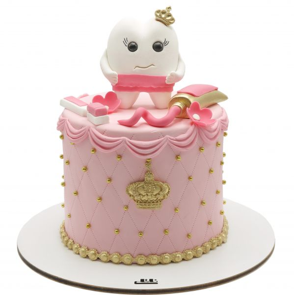 کیک جشن دندونی دخترانه صورتی