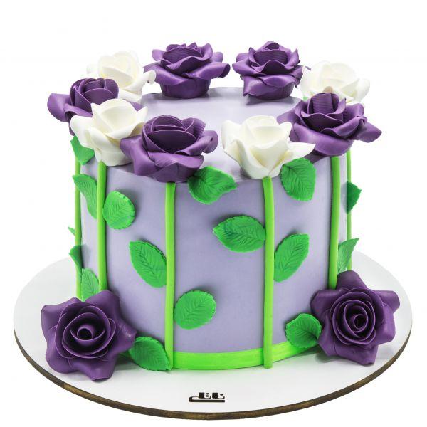 کیک تولد دخترانه رز بنفش و سفید
