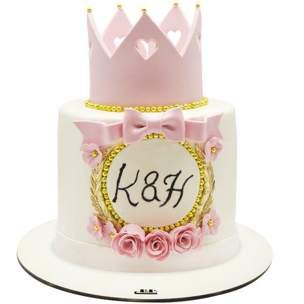 کیک تولد دخترانه تاج صورتی 2