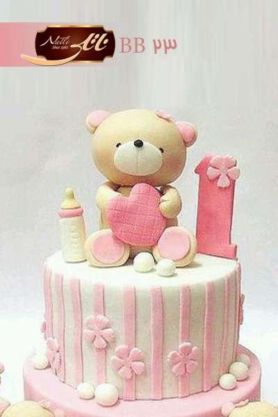 کیک تولد دخترانه خرس شیرخوار