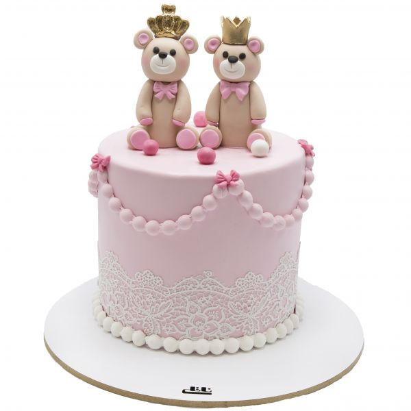 کیک تولد وانیلی خرسی صورتی