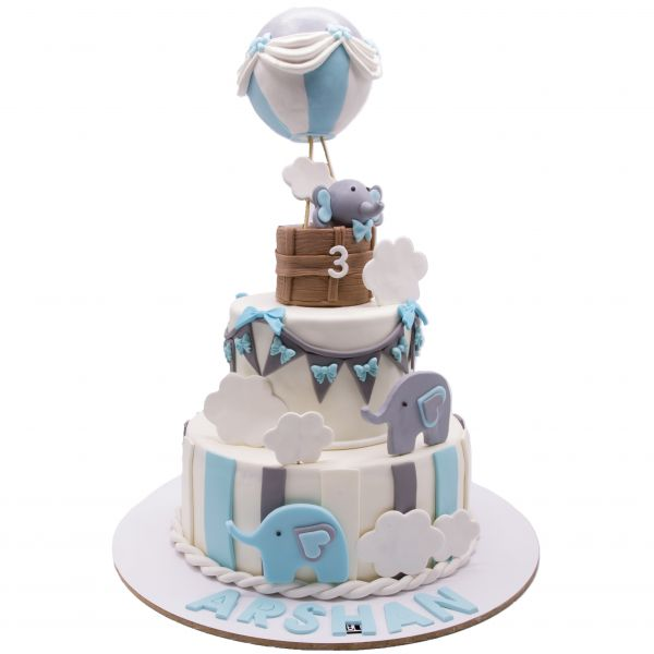 کیک تولد فیل بالن سوار