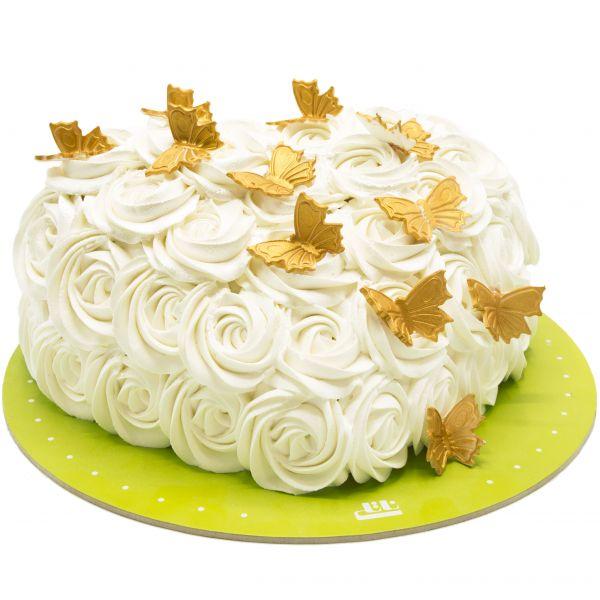 کیک تولد خامه ای رز وانیل