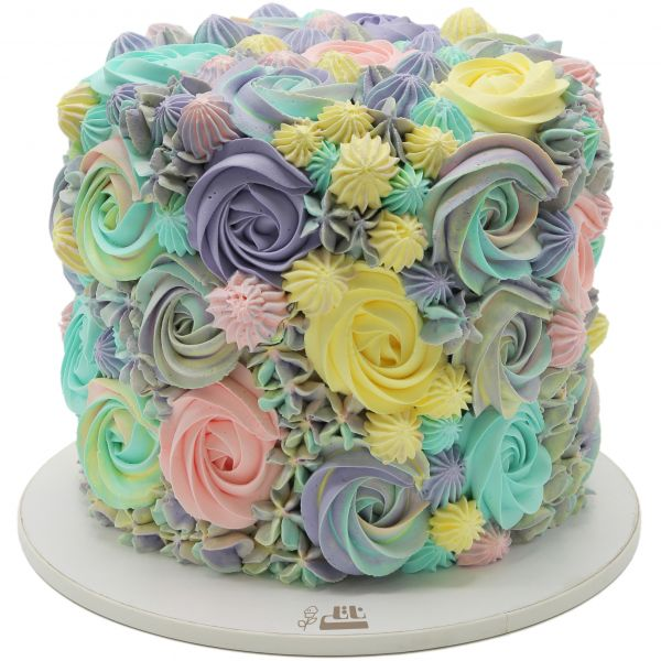 کیک تولد دخترانه رز رنگی