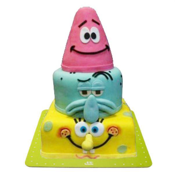 کیک تولد باب اسفنجی طبقاتی