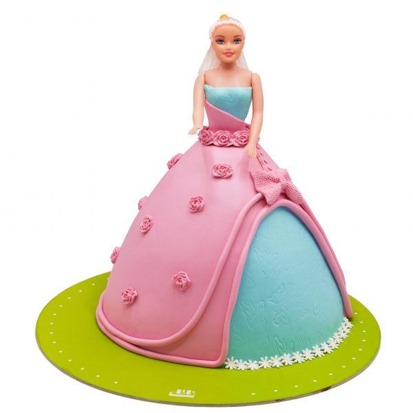 کیک تولد دخترانه باربی صورتی