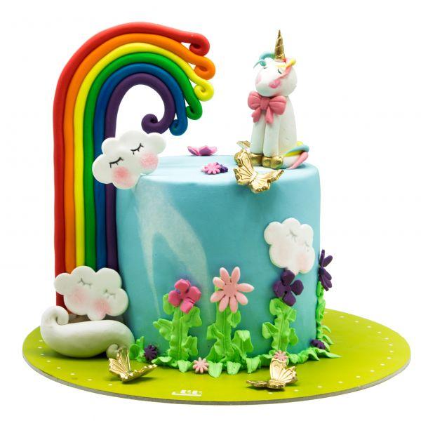 کیک تک شاخ و رنگین کمان