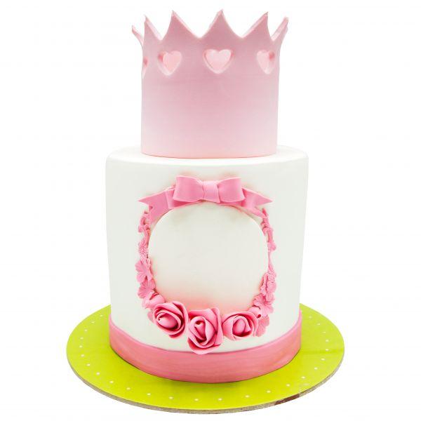 کیک تولد دخترانه تاج صورتی
