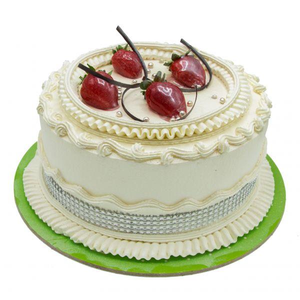 کیک خامه و توت فرنگی