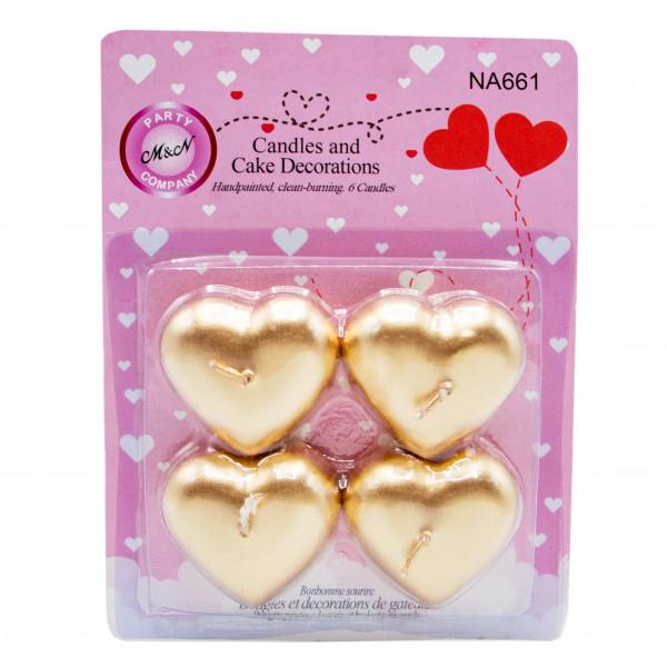 شمع قلب طلایی 4تایی