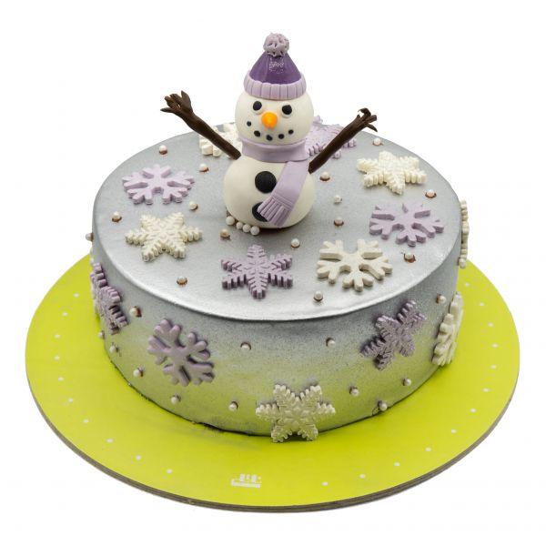 کیک آدم برفی نقره ای