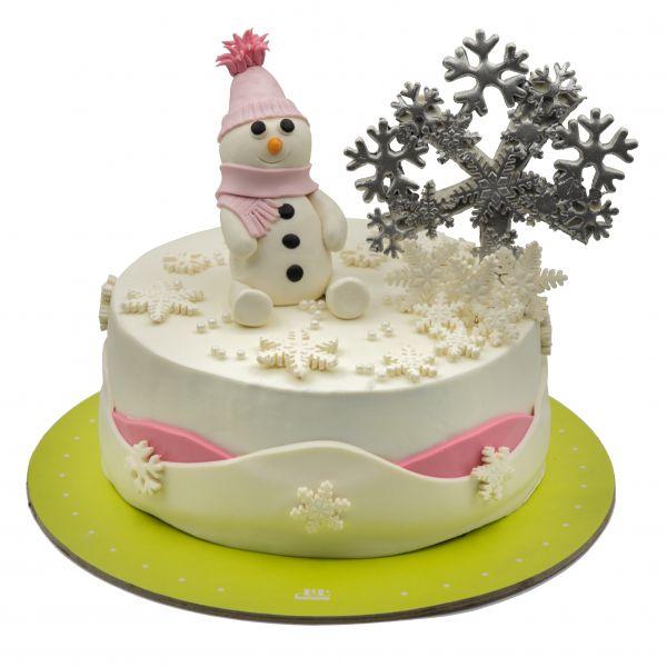 کیک آدم برفی صورتی