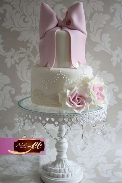 کیک نامزدی پاپیون صورتی 3