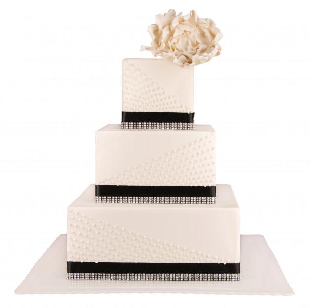 کیک عروسی سپید گل 5