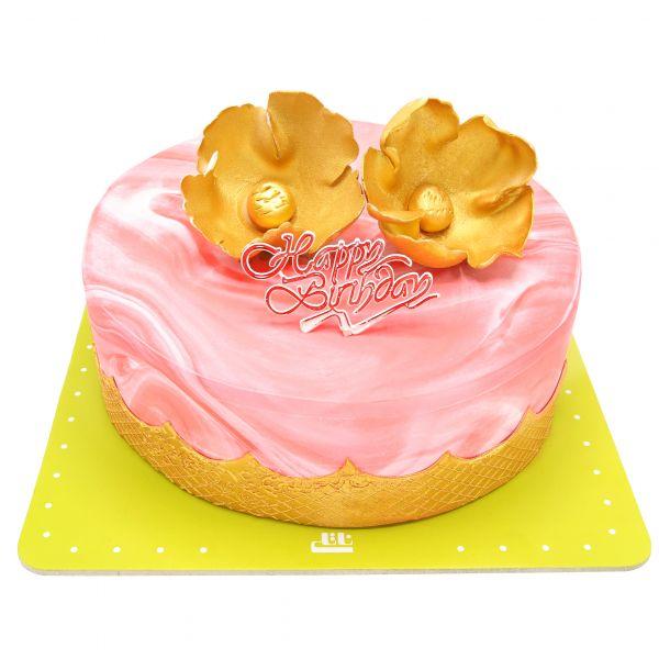کیک تولد دخترانه رز طلایی