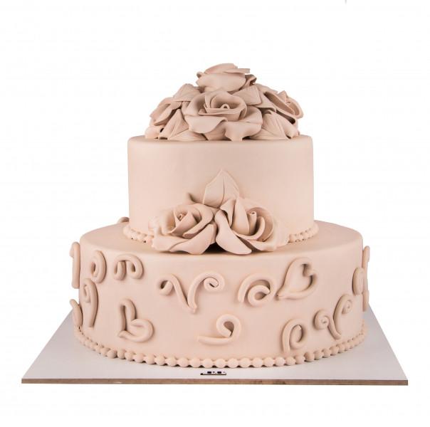 کیک عروسی رز سفید 1