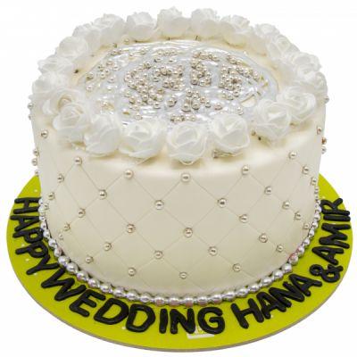 کیک نامزدی گل رز سفید