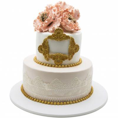 کیک عروسی رزگلد