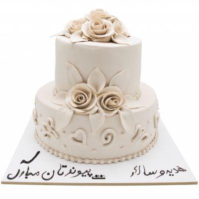 کیک عروسی رز سفید