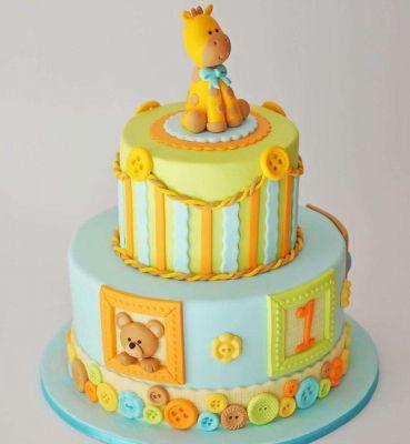 کیک تولد وانیلی خرسی طبقاتی