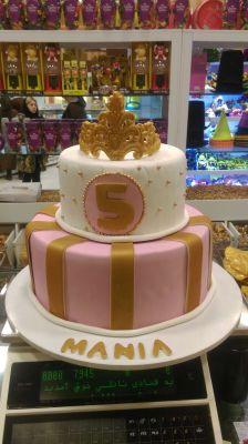 کیک تولد دخترانه تاج طلایی 1