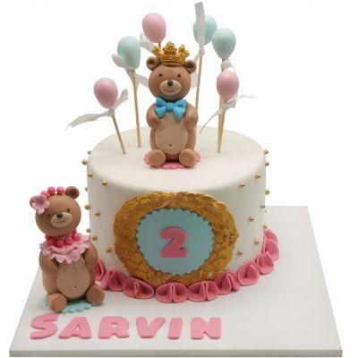 کیک تولد وانیلی خرسی 7