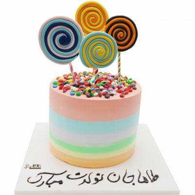 کیک تولد آبنبات رنگی
