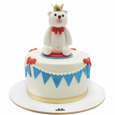 کیک تولد وانیلی خرسی سفید