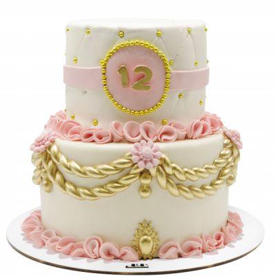 کیک تولد دخترانه زرین