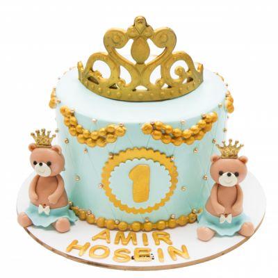 کیک تولد وانیلی خرسی طلایی