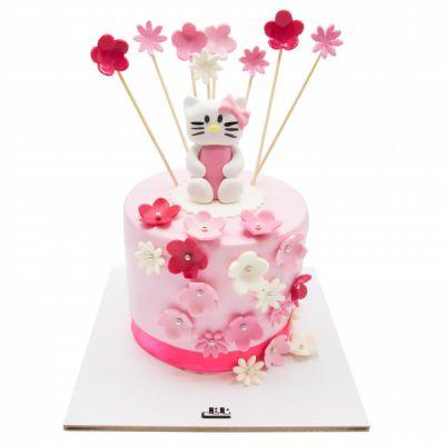 کیک تولد دخترانه کیتی صورتی