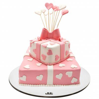 کیک تولد دخترانه هدیه قلبی