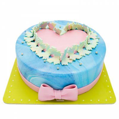 کیک تولد دخترانه قلب پروانه ای