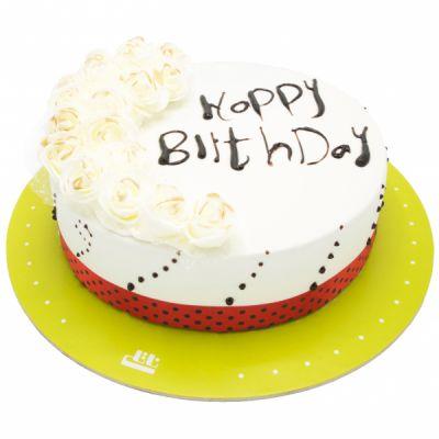 کیک تولد رز سفید نیکیتا
