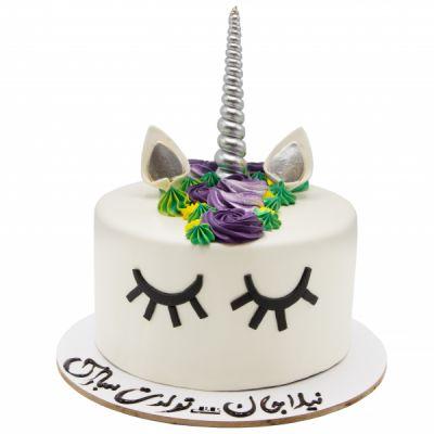 کیک اسب تک شاخ سفید