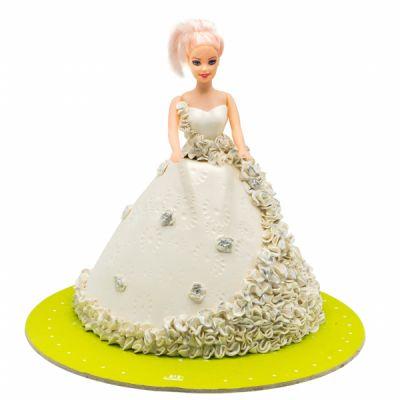 کیک باربی سفید