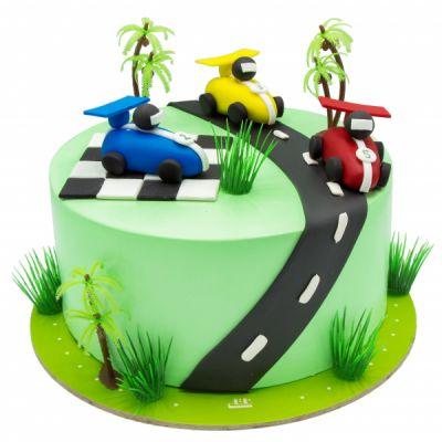 کیک تولد پسرانه ماشین مسابقه ای