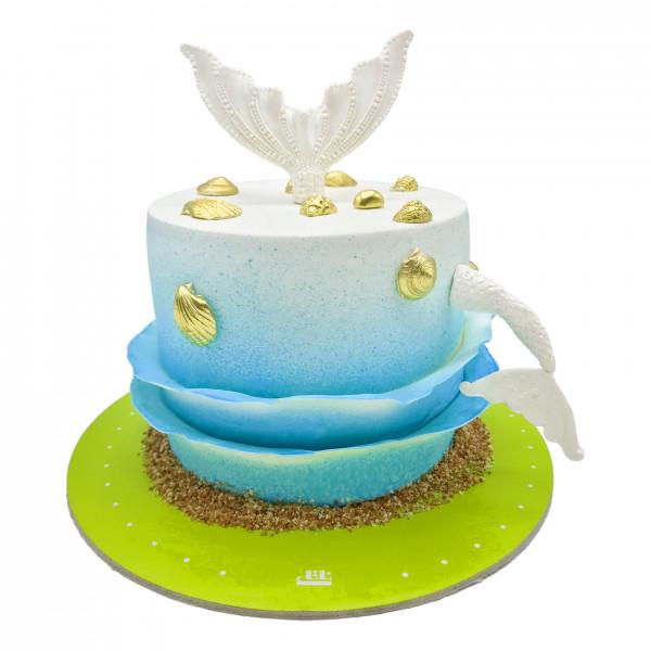 کیک تولد گل های سبز و بنفش