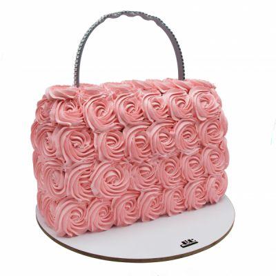 کیک کیف رز صورتی