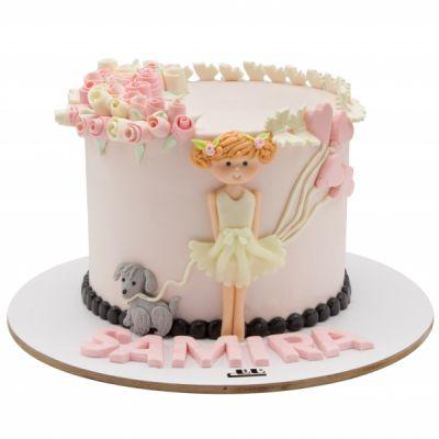 کیک تولد دختر بچه و سگش