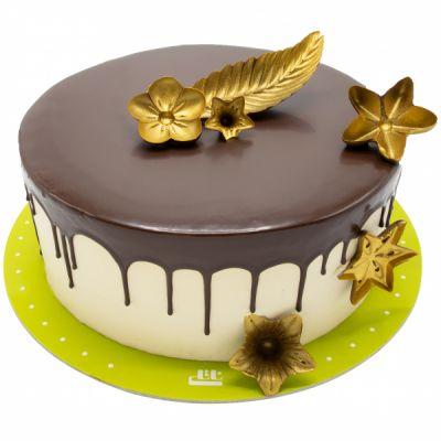کیک شکلاتی گل های طلایی