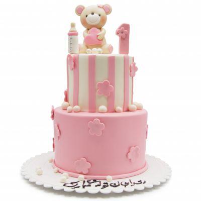کیک عروسکی خرسی دو طبقه